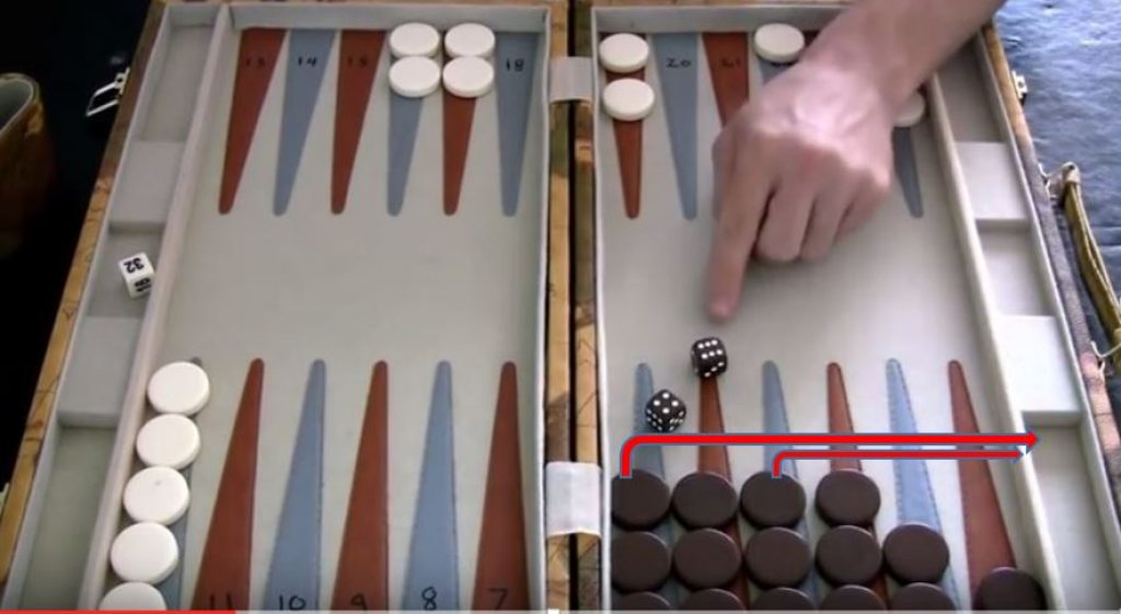 Bearing off checkers in Backgammon