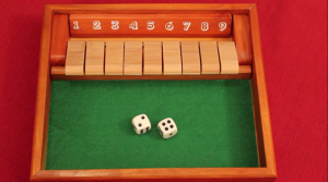 Shut the box Components: one wooden box with 9 tiles on hinges numbered 1 to 9, and two dice.